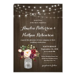 Rustic Burgundy Blush Floral Mason Jar Wedding Invitations
