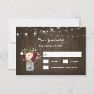 Rustic Burgundy Blush Floral Mason Jar Wedding RSVP Card