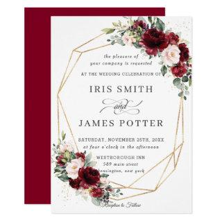 Rustic Burgundy Blush Floral Wedding Geometric Invitation