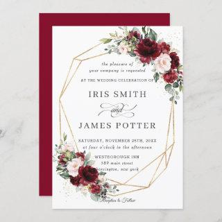 Rustic Burgundy Blush Floral Wedding Geometric Invitations