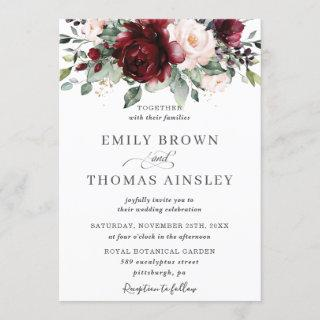 Rustic Burgundy Blush Pink Floral Greenery Wedding Invitations