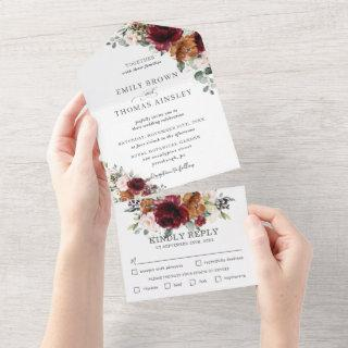 Rustic Burgundy Blush Rust Ivory Floral Wedding   All In One