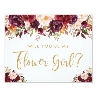Rustic Burgundy Blush Will You Be My Flower Girl Invitation