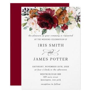 Rustic Burgundy Burnt Orange Blush Floral Wedding Invitation