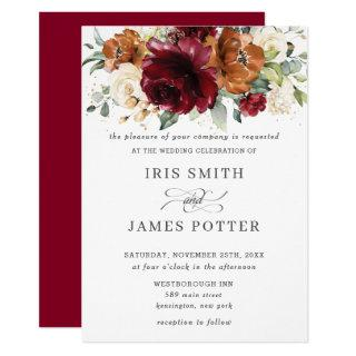 Rustic Burgundy Burnt Orange Ivory Floral Wedding Invitations