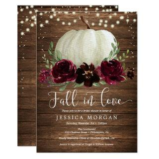 Rustic Burgundy Fall in Love Bridal Shower Invite