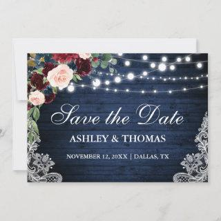 Rustic Burgundy Floral Blue Wood Save the Date