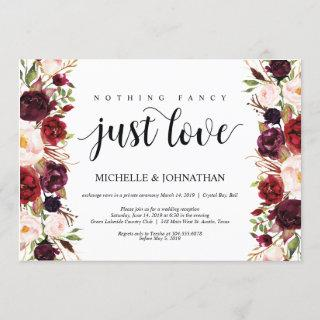 Rustic Burgundy Floral Elopement Reception Invites