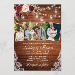 Rustic Burgundy Floral Jar Lights 3 Photo Wedding Invitations