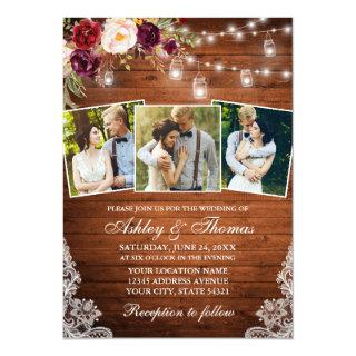 Rustic Burgundy Floral Jar Lights 3 Photo Wedding Invitation