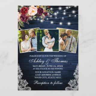 Rustic Burgundy Floral Lace Lights 3 Photo Wedding Invitation