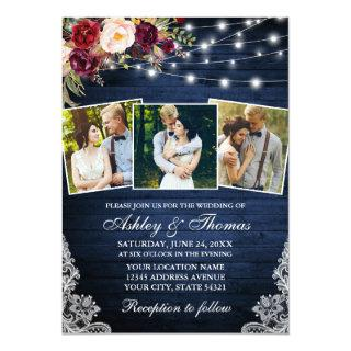 Rustic Burgundy Floral Lace Lights 3 Photo Wedding Invitations