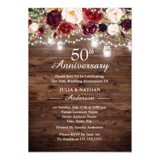 Rustic Burgundy Floral Lights 50th Anniversary Invitations