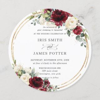 Rustic Burgundy Ivory Floral Gold Greenery Wedding Invitation