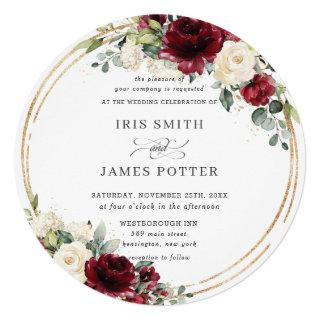 Rustic Burgundy Ivory Floral Gold Greenery Wedding Invitations