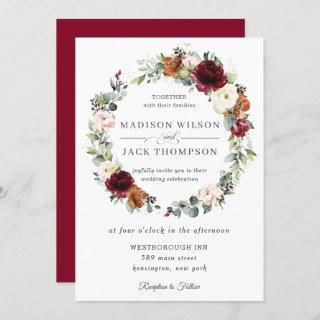 Rustic Burgundy Ivory Orange Floral Wreath Wedding Invitation