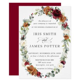 Rustic Burgundy Ivory Orange Floral Wreath Wedding Invitations