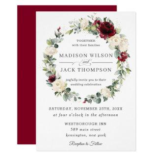 Rustic Burgundy Ivory White Floral Wreath Wedding Invitations