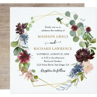 Rustic Burgundy Navy Florals Wedding Invitations