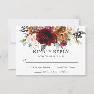 Rustic Burgundy Orange Floral Wedding RSVP Card