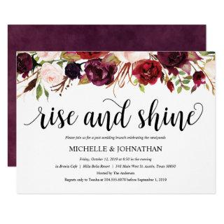 Rustic Burgundy Post Wedding Brunch Invitations
