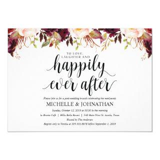 Rustic Burgundy Post Wedding Invitations Cards