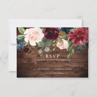 Rustic Burgundy Red & Blush Floral Wedding RSVP Card