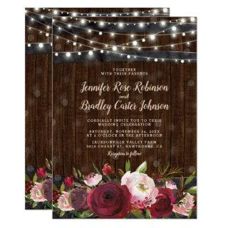 Rustic Burgundy Red Floral Barrel Wedding Invitations