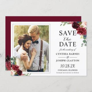 Rustic Burgundy Red Floral Classic Wedding Photo Save The Date