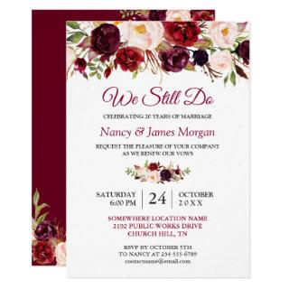 Rustic Burgundy Red Floral Wedding Vow Renewal Invitations