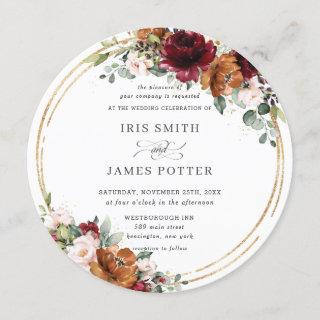 Rustic Burgundy Rust Floral Gold Greenery Wedding Invitation