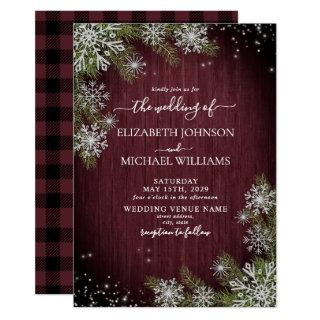 Rustic Burgundy Silver Winter Wood Plaid Wedding Invitation