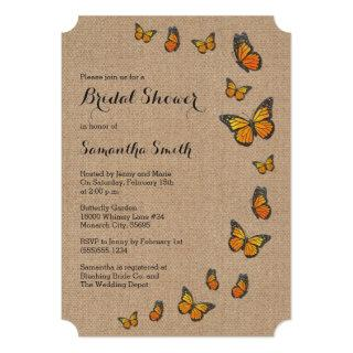Rustic Burlap and Butterfly Invitation