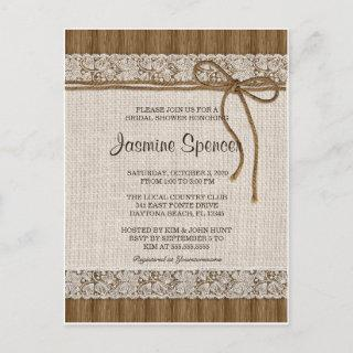 Rustic Burlap And Lace Bridal Shower Invitations