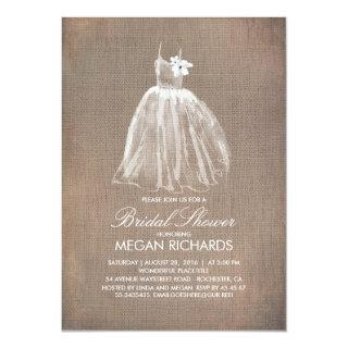 Rustic Burlap and Wedding Gown Bridal Shower Invitations