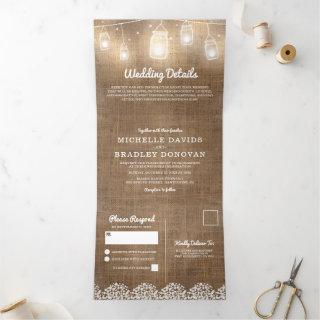 Rustic Burlap Baby's Breath Wedding Tri-Fold Invitations