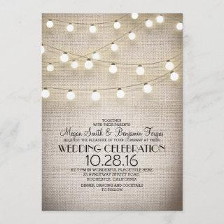 Rustic Burlap Lace and String Lights Wedding Invitation