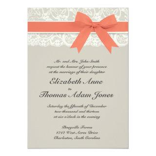 Rustic Burlap Lace Coral Gray Wedding Invitations
