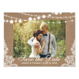 Rustic Burlap Lace Lights Save the Date Engagement Magnetic Invitations