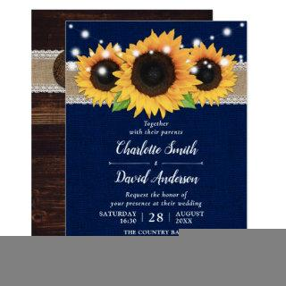 Rustic Burlap Lace Sunflower Navy Blue Wedding Invitation