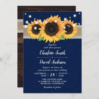 Rustic Burlap Lace Sunflower Navy Blue Wedding Invitations