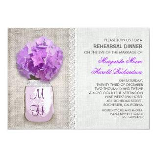 Rustic Burlap Mason Jar Purple Rehearsal Dinner Invitations