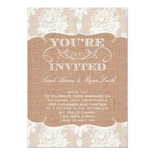 Rustic Burlap Print & Lace Wedding Invitation