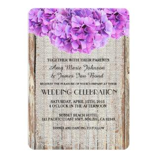 Rustic burlap purple hydrangea wedding invites ph1