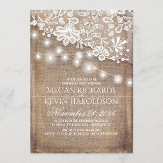 Rustic Burlap String Lights Lace Engagement Party Invitation