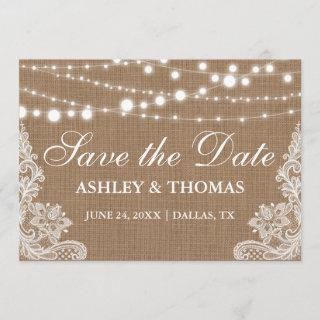 Rustic  Burlap String Lights Lace Save the Date