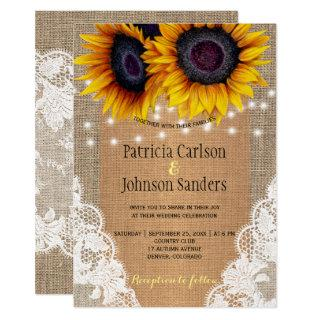Rustic burlap sunflowers lights and lace wedding invitation