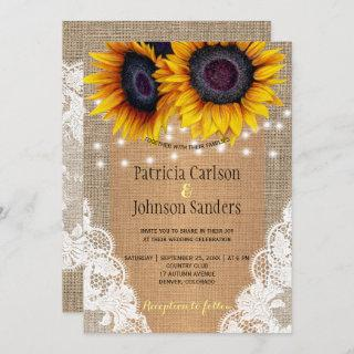 Rustic burlap sunflowers lights and lace wedding Invitations