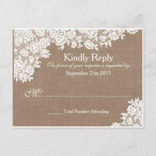 Rustic Burlap & Vintage Lace Wedding RSVP Invitations Postcard