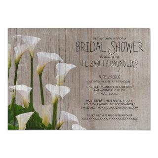 Rustic Calla Lillies Bridal Shower Invitations